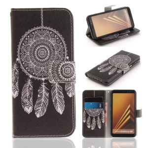 Pattern Printing Wallet Stand Leather Mobile Case for Samsung Galaxy A8 (2018) - Tribal Dream Catcher