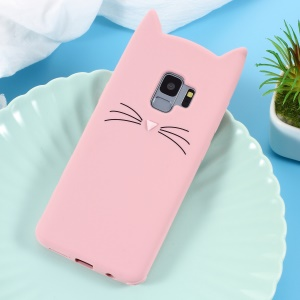 3D Mustache Cat Soft Silicone Case for Samsung Galaxy S9 SM-G960 - Pink