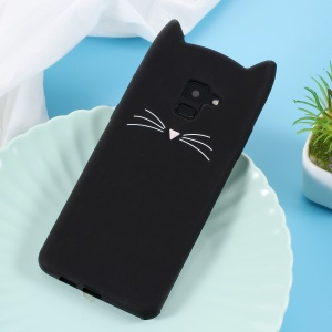 3D Mustache Cat Silicone Phone Case for Samsung Galaxy A8+ (2018) - Black