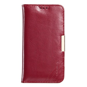 KLD Royal II Series Genuine Leather Wallet Cover for Samsung Galaxy S7 edge - Red