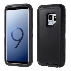 3-piece Shockproof Drop-proof Dust-proof PC Silicone Hybrid Case for Samsung Galaxy S9 G960 - Black