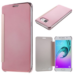 Mirror Surface PC & PU Leather Smart Case for Samsung Galaxy A5 SM-A510F (2016) - Pink