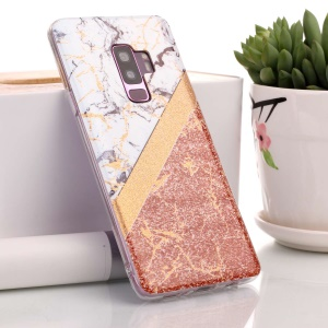Flash Powder Marble Pattern IMD TPU Soft Case for Samsung Galaxy S9+ SM-G965 - White / Rose Gold