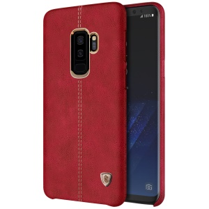 NILLKIN Englon Series Crazy Horse Texture Leather Coated PC Hard Back Cover for Samsung Galaxy S9+ SM-G965 - Red