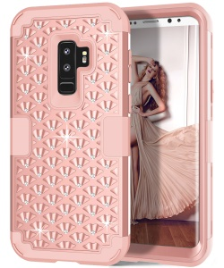 3-piece Starry Sky Rhinestone PC + Silicone Hybrid Cell Phone Cover for Samsung Galaxy S9 Plus SM-G965 - Rose Gold