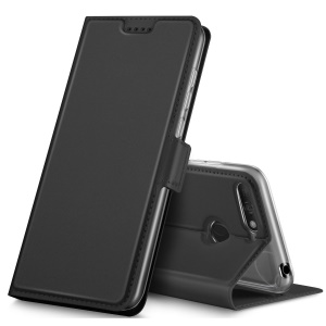 Card Holder Auto-absorbed Leather Cell Phone Case with Stand for Huawei Honor 7A (with Fingerprint Sensor)/Honor 7A Pro/Enjoy 8e - Black