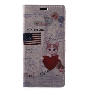 US Flag and Cat Holding Heart