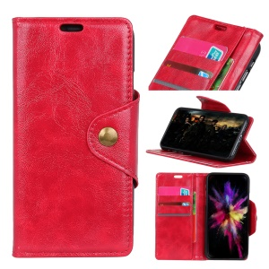 Card Holder Leather Mobile Phone Shell with Stand for Samsung Galaxy J6 (2018) - Red