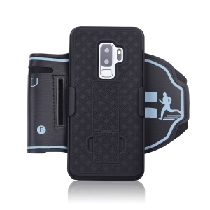 Woven Pattern Sport Armband Case with Kickstand for Samsung Galaxy S9 Plus SM-G965 - Black