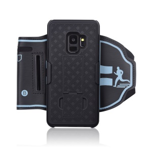 Nylon Sport Armband Woven Pattern PC Case with Kickstand for Samsung Galaxy S9 SM-G960 - Black