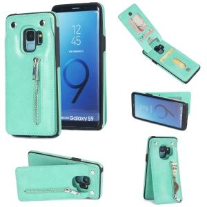 Multi-functional Zipper Wallet Kickstand Leather Coated TPU Mobile Phone Case for Samsung Galaxy S9 SM-G960 - Cyan