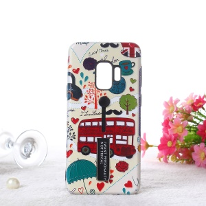 Embossment Cartoon Pattern TPU + PC Hybrid Phone Shell with Kickstand for Samsung Galaxy S9 SM-G960 - London Bus