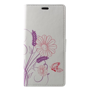 Pattern Printing Stand Leather Wallet Flip Accessory Case for Samsung Galaxy A6+ (2018) / A9 Star Lite - Flower Pattern