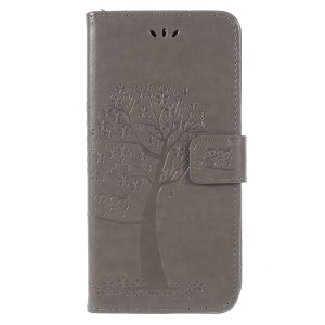 For Samsung Galaxy A6 Plus (2018) / A9 Star Lite Imprint Tree Owl Wallet Stand PU Leather Phone Casing - Grey
