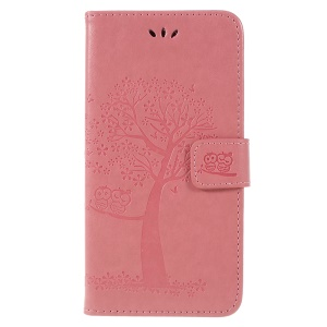 For Samsung Galaxy A6 Plus (2018) / A9 Star Lite Imprint Tree Owl Wallet Stand PU Leather Phone Casing Cover - Pink