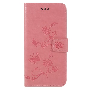 Imprint Butterfly Flower Stand Wallet Leather Phone Case for Samsung Galaxy A6 Plus (2018) / A9 Star Lite - Rose