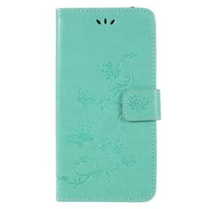 Imprint Butterfly Flower Wallet Stand Leather Phone Cover for Samsung Galaxy A6+ (2018) / A9 Star Lite - Green