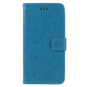 Imprint Butterfly Flower PU Leather Stand Wallet Phone Shell for Samsung Galaxy A6+ (2018) / A9 Star Lite - Blue