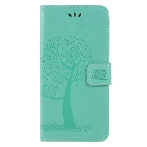 For Samsung Galaxy A6 (2018) Imprint Tree Owl Wallet Stand PU Leather Phone Cover Shell - Green