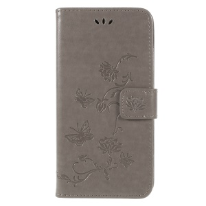 Imprint Butterfly Flowers Magnetic Wallet Leather Stand Cover for Samsung Galaxy A6 (2018) - Grey