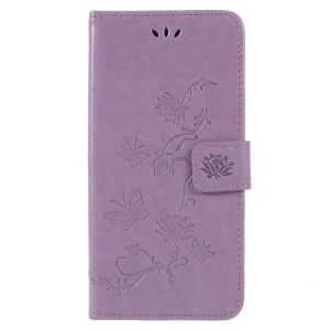 Imprint Butterfly Flowers Magnetic Wallet Leather Stand Mobile Cover for Samsung Galaxy A6 (2018) - Light Purple