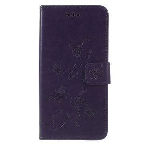 Imprint Butterfly Flowers Magnetic Wallet Leather Stand Mobile Case for Samsung Galaxy A6 (2018) - Dark Purple