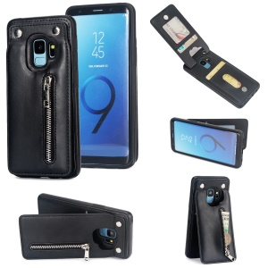 Multi-functional Zipper Wallet Kickstand Leather Coated TPU Back Case for Samsung Galaxy S9+ SM-G965 - Black