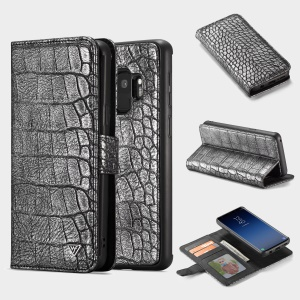 WHATIF Detachable 2-in-1 Crocodile Texture Leather Wallet Case for Samsung Galaxy S9 SM-G960 - Black
