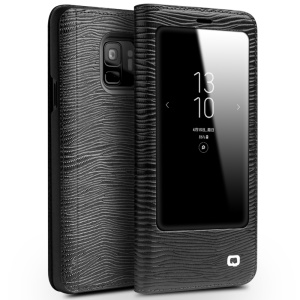 QIALINO Textured Genuine Leather View Window Smart Shell for Samsung Galaxy S9 SM-G960 - Black Lizard Texture
