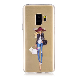 Pattern Printing Soft TPU Back Phone Cover for Samsung Galaxy S9 SM-G960 - Shopping Girl