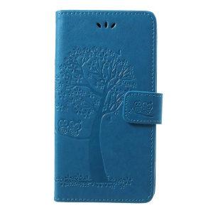 Imprint Tree Owl Pattern PU Leather Mobile Cover with Card Slots for Samsung Galaxy J7 (2018) J737 - Blue