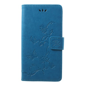 Imprint Butterfly Flower Card Holder Leather Mobile Shell with Stand for Samsung Galaxy J7 (2018) J737 - Blue