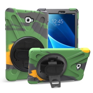 360 Degree Swivel Kickstand Plastic + Silicone Combo Case with Hand Holder Strap for Samsung Galaxy Tab A 10.1 (2016) T580 T585 - Camouflage