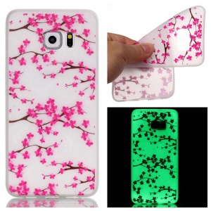 Noctilucent TPU Gel Phone Cover for Samsung Galaxy S7 edge - Plum Blossom