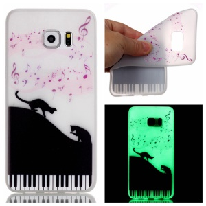 Noctilucent TPU Back Case for Samsung Galaxy S7 edge - Music Note and Cats