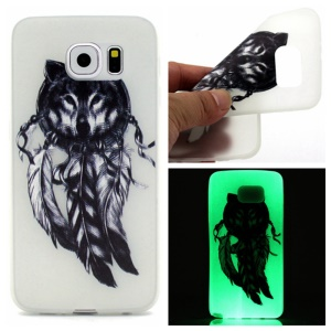 Noctilucent TPU Gel Phone Shell for Samsung Galaxy S7 edge - Dream Catcher and Wolf