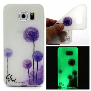 Noctilucent TPU Gel Phone Shell for Samsung Galaxy S7 edge - Purple Dandelion