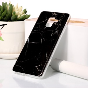 Marble Pattern IMD TPU Phone Cover for Samsung Galaxy A8 Plus (2018) - Black