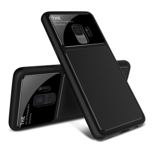 LENUO Tempered Glass Lens TPU Case for Samsung Galaxy S9 SM-G960 - Black