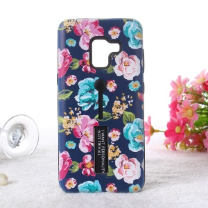 Embossment Peony Flower TPU + PC Kickstand Cell Phone Case for Samsung Galaxy A8 (2018) - Style F