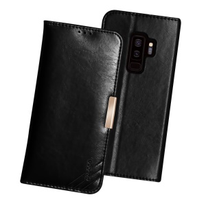 DZGOGO SS Genuine Leather Wallet Stand Shell for Samsung Galaxy S9+ SM-G965 - Black
