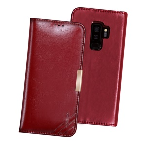 DZGOGO SS Genuine Leather Wallet Stand Case for Samsung Galaxy S9 Plus SM-G965 - Wine Red