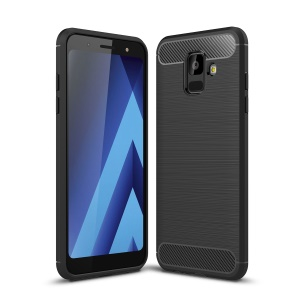 Carbon Fiber Texture Brushed TPU Mobile Phone Casing for Samsung Galaxy A6 (2018) - Black