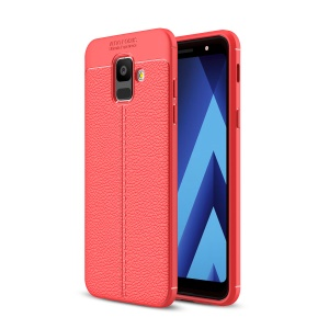 Litchi Texture TPU Phone Casing for Samsung Galaxy A6 (2018) - Red