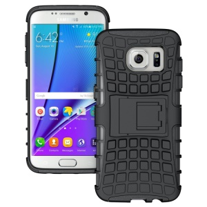 TPU PC Hybrid Case for Samsung Galaxy S7 edge G935 with Kickstand - Black