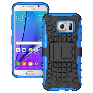 TPU PC Phone Case for Samsung Galaxy S7 edge G935 with Kickstand - Blue
