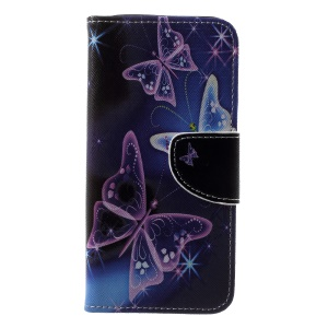 Pattern Printing Cross Texture Leather Wallet Case Phone Shell for Samsung Galaxy A6 (2018) - Vivid Butterflies
