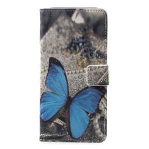 Pattern Printing PU Leather Magnetic Wallet Stand Casing for Samsung Galaxy A6+ (2018)/A9 Star Lite - Blue Butterfly