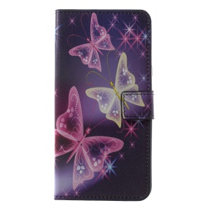 Pattern Printing PU Leather Magnetic Wallet Stand Mobile Phone Cover for Samsung Galaxy A6+ (2018)/A9 Star Lite - Crystal Butterfly