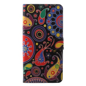 Pattern Printing PU Leather Magnetic Wallet Stand Case for Samsung Galaxy A6 (2018) - Abstract Pattern